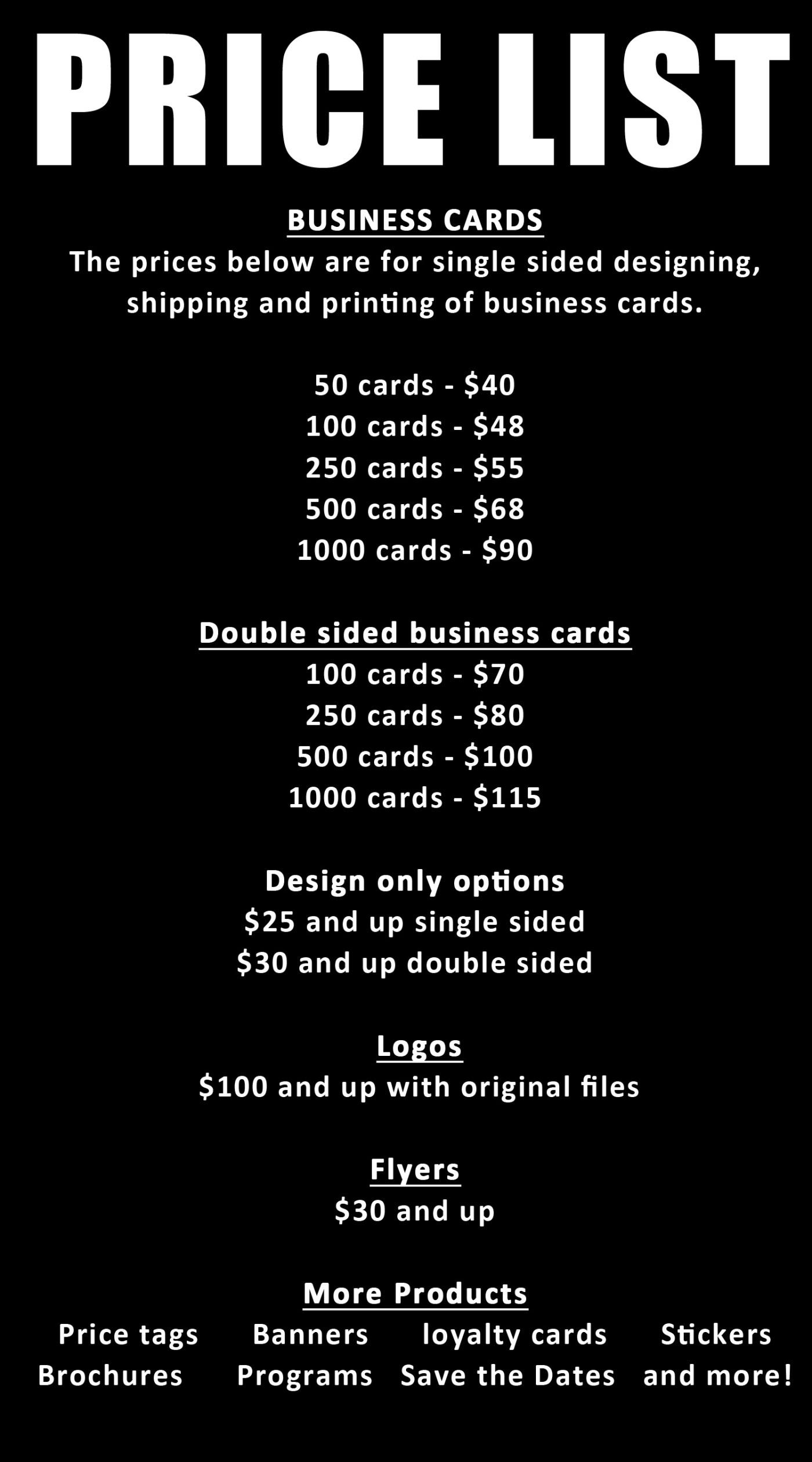 price list – creative on paper